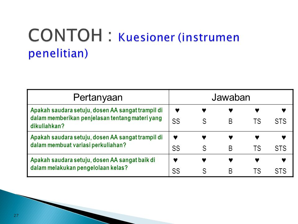 CONTOH : Kuesioner (instrumen penelitian)