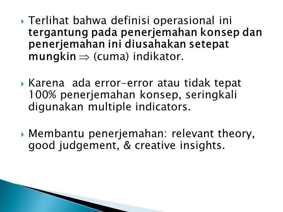 Terlihat bahwa definisi operasional ini tergantung pada penerjemahan konsep dan penerjemahan ini diusahakan setepat mungkin  (cuma) indikator.