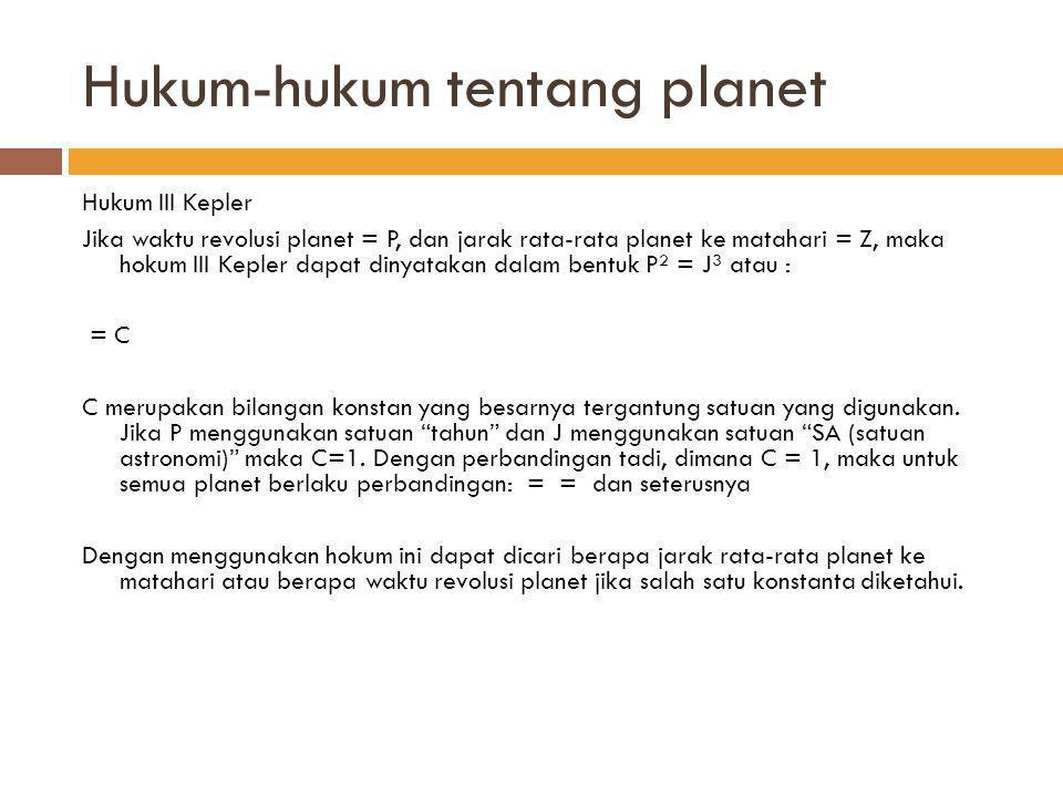 Hukum-hukum tentang planet