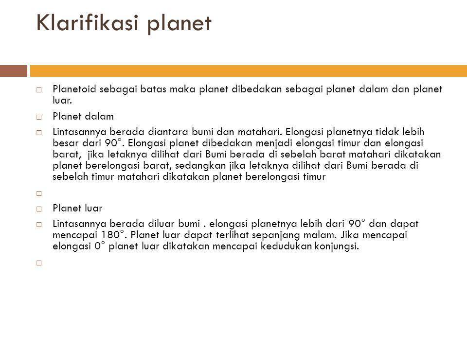 Klarifikasi planet Planetoid sebagai batas maka planet dibedakan sebagai planet dalam dan planet luar.