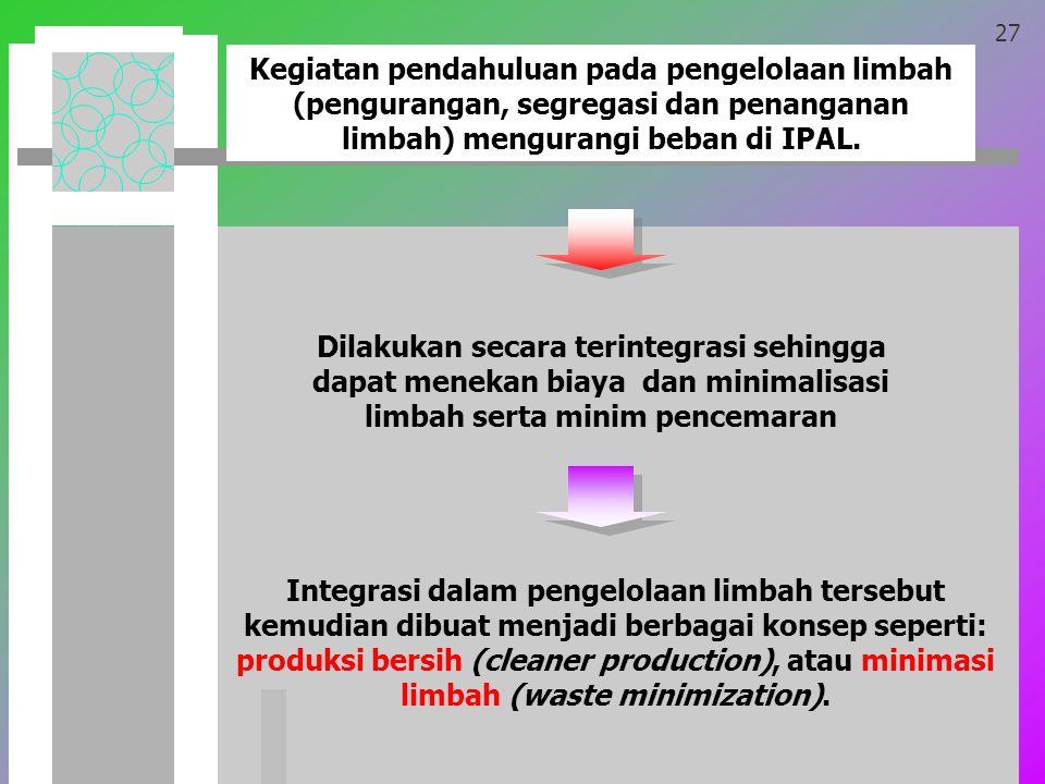 27 Kegiatan pendahuluan pada pengelolaan limbah (pengurangan, segregasi dan penanganan limbah) mengurangi beban di IPAL.