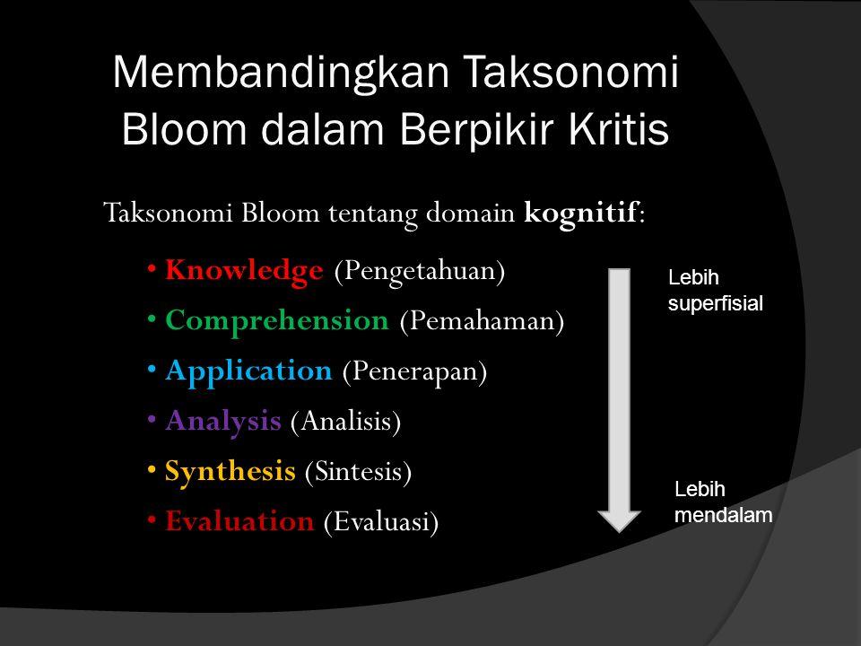 Membandingkan Taksonomi Bloom dalam Berpikir Kritis