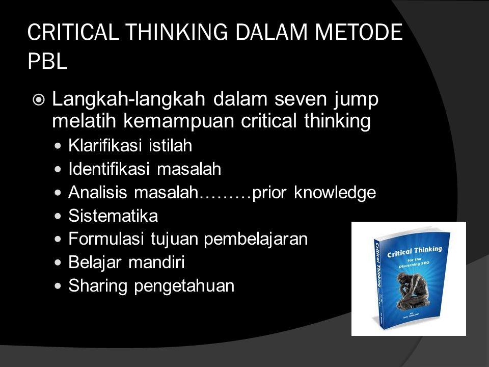 CRITICAL THINKING DALAM METODE PBL