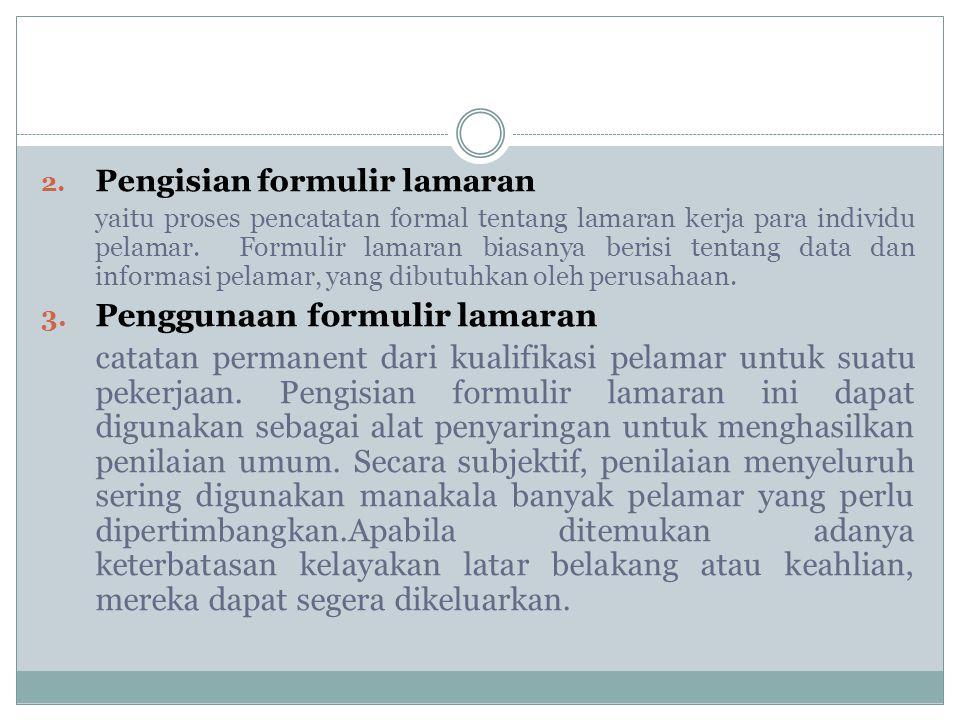 Penggunaan formulir lamaran