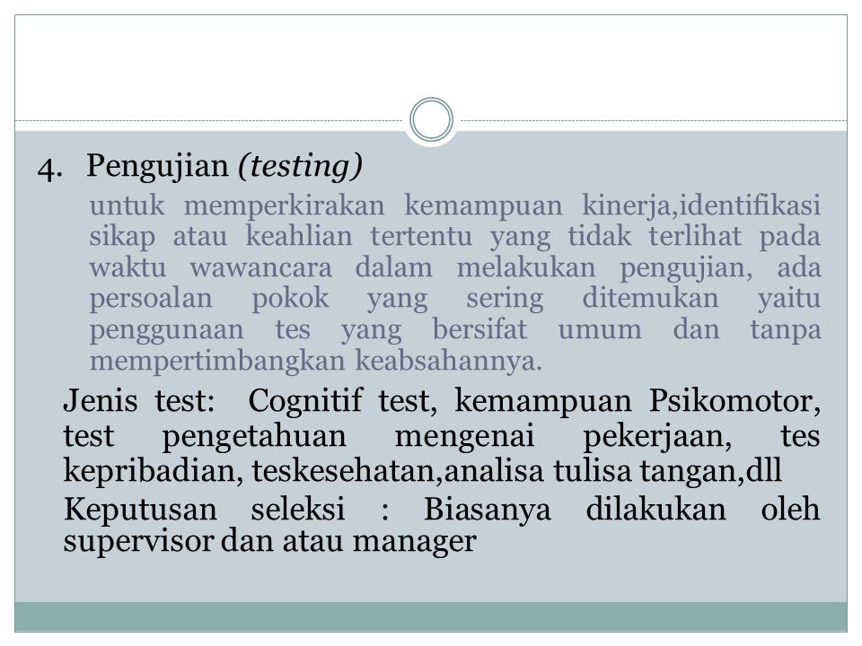 4. Pengujian (testing)