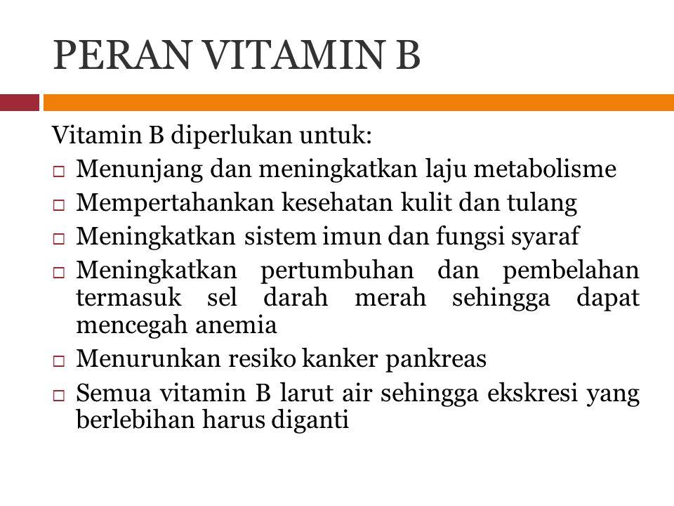PERAN VITAMIN B Vitamin B diperlukan untuk: