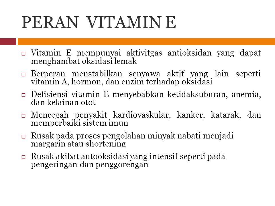 PERAN VITAMIN E Vitamin E mempunyai aktivitgas antioksidan yang dapat menghambat oksidasi lemak.