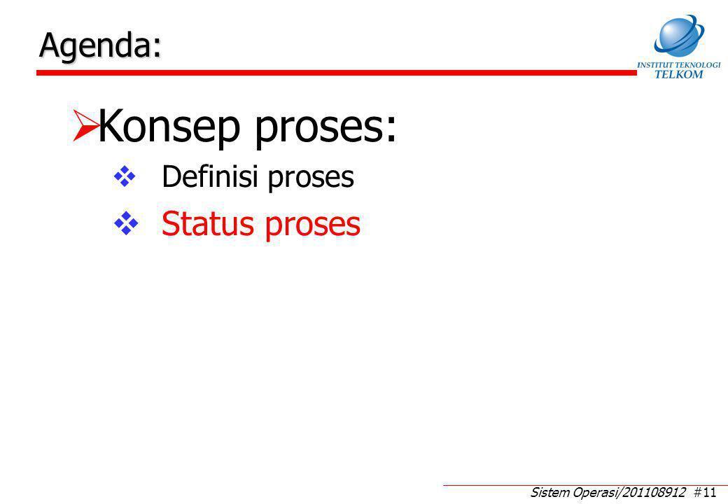 Status Proses Status proses merupakan kondisi suatu proses (setiap saat setiap proses mempunyai sebuah kondisi)