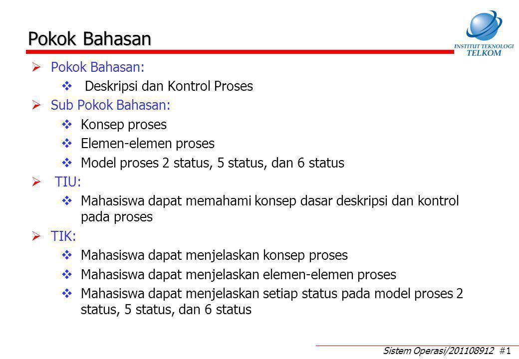 Sub Pokok Bahasan: Konsep proses: Definisi proses Status proses