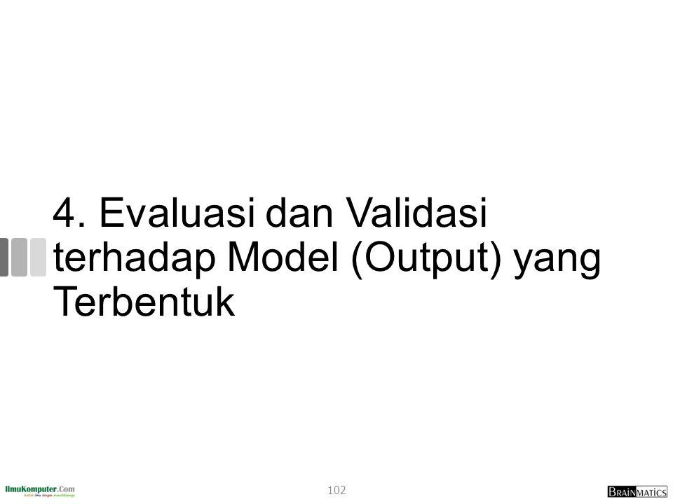 4. Evaluasi dan Validasi terhadap Model (Output) yang Terbentuk