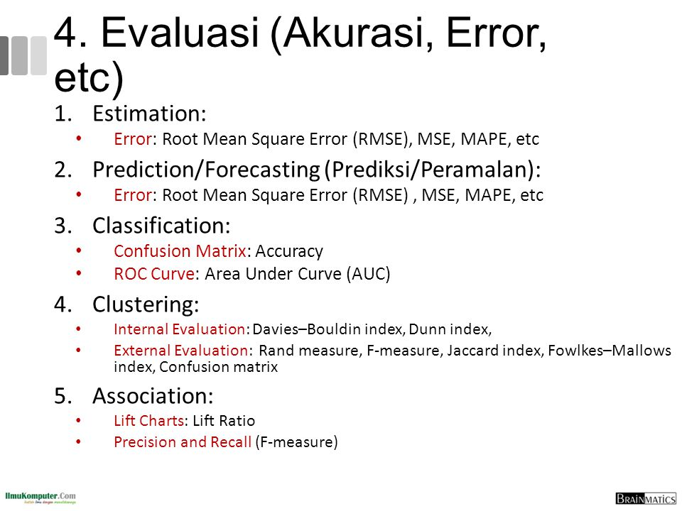 4. Evaluasi (Akurasi, Error, etc)