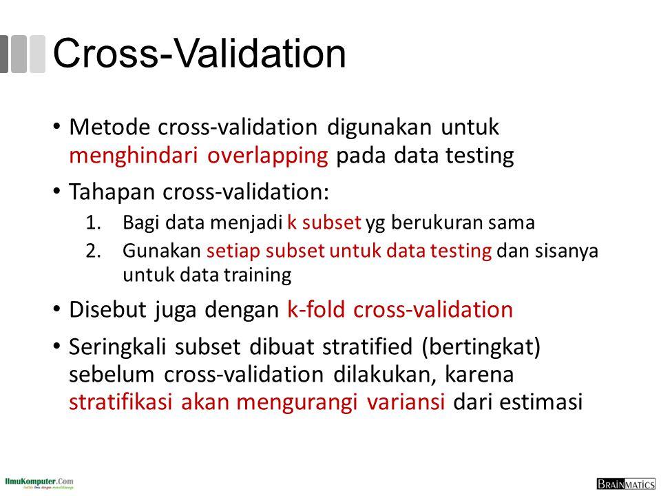 Cross-Validation Metode cross-validation digunakan untuk menghindari overlapping pada data testing.
