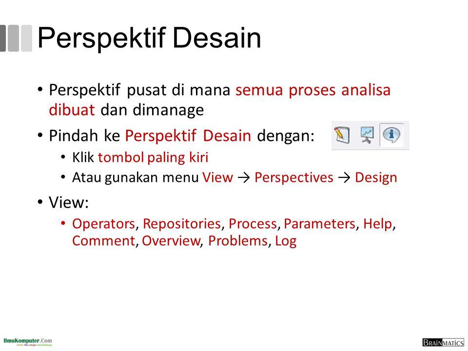 Perspektif Desain Perspektif pusat di mana semua proses analisa dibuat dan dimanage. Pindah ke Perspektif Desain dengan: