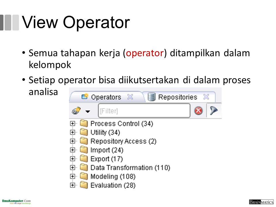View Operator Semua tahapan kerja (operator) ditampilkan dalam kelompok.
