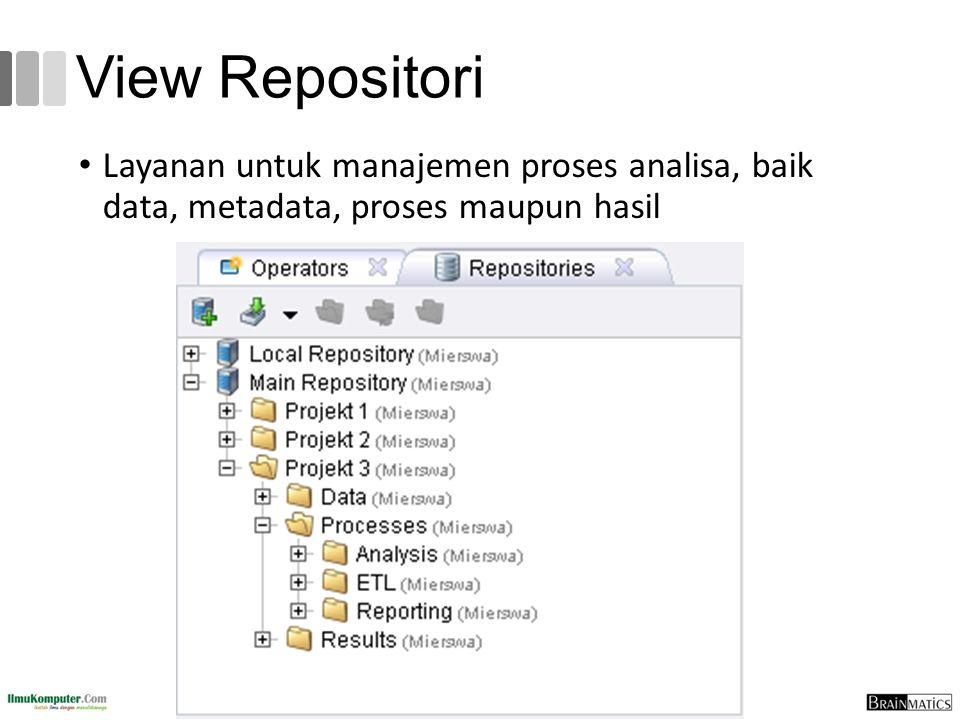 View Repositori Layanan untuk manajemen proses analisa, baik data, metadata, proses maupun hasil