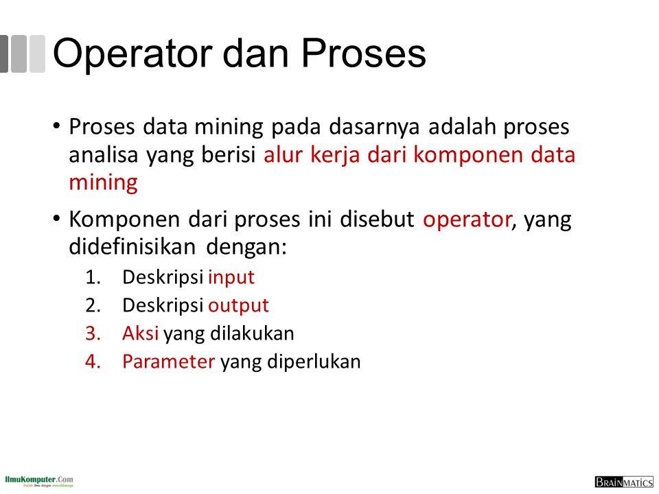 Operator dan Proses Proses data mining pada dasarnya adalah proses analisa yang berisi alur kerja dari komponen data mining.