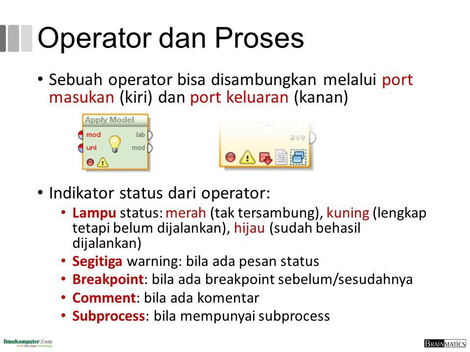 Operator dan Proses Sebuah operator bisa disambungkan melalui port masukan (kiri) dan port keluaran (kanan)