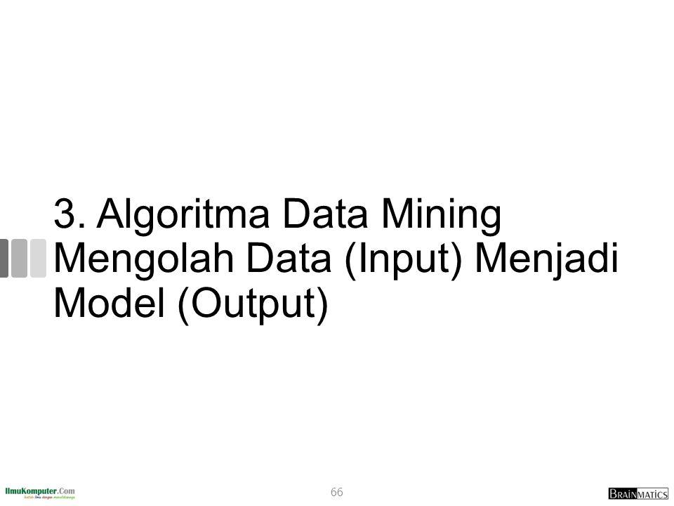 3. Algoritma Data Mining Mengolah Data (Input) Menjadi Model (Output)