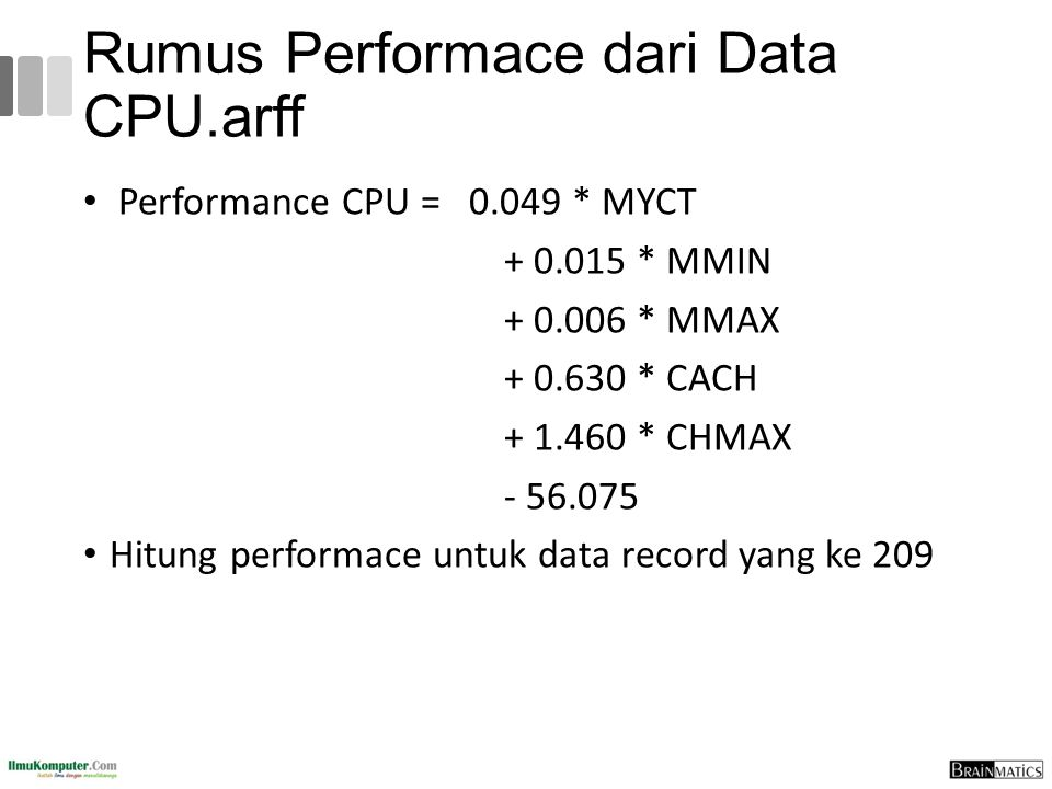 Rumus Performace dari Data CPU.arff