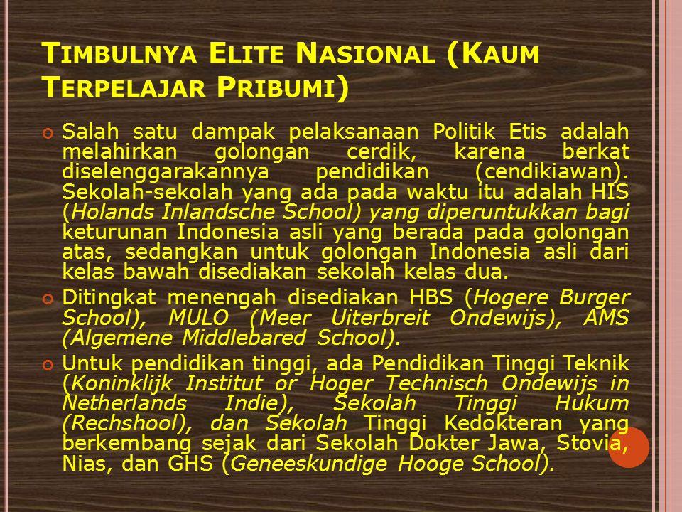 Timbulnya Elite Nasional (Kaum Terpelajar Pribumi)