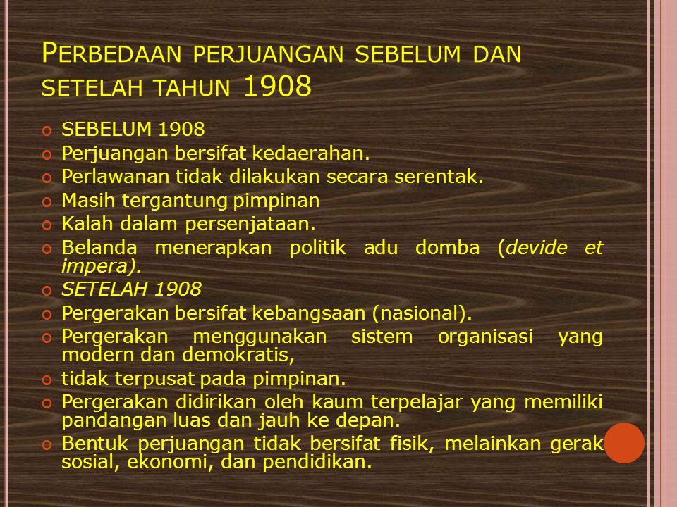 Perbedaan perjuangan sebelum dan setelah tahun 1908