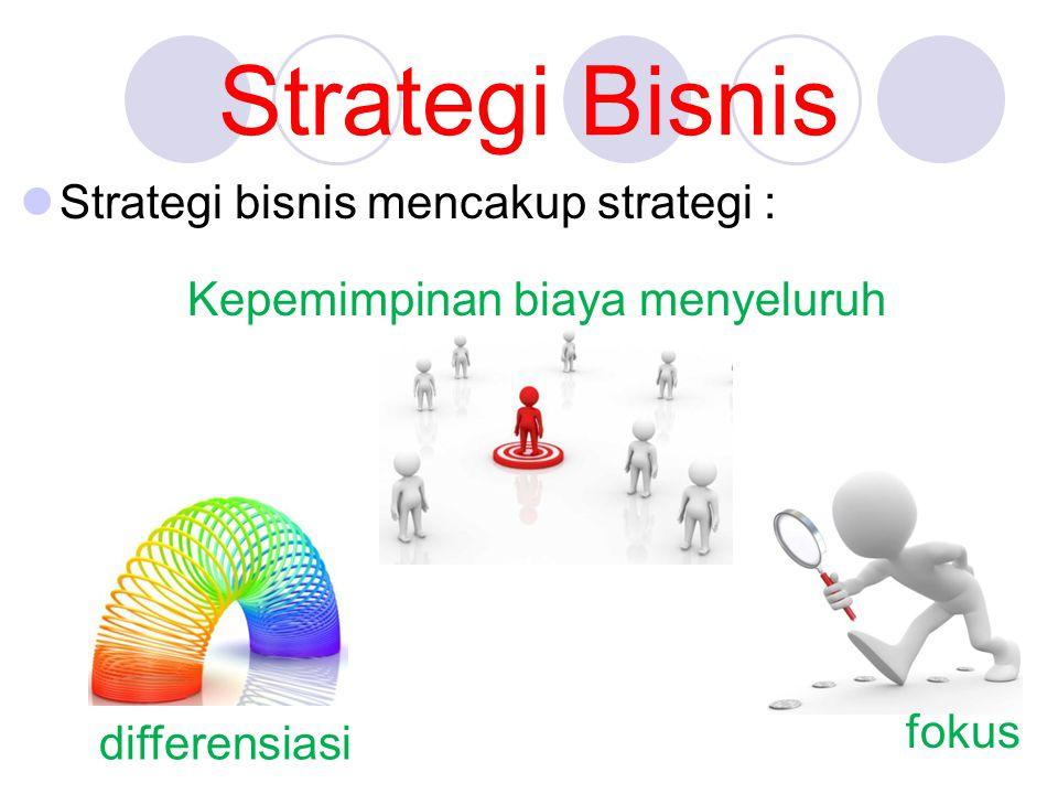 Strategi Bisnis Strategi bisnis mencakup strategi :
