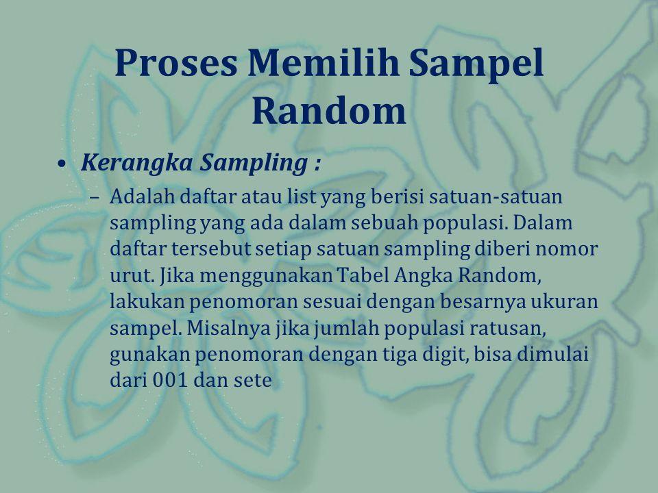 Proses Memilih Sampel Random