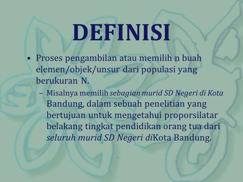 DEFINISI Proses pengambilan atau memilih n buah elemen/objek/unsur dari populasi yang berukuran N.