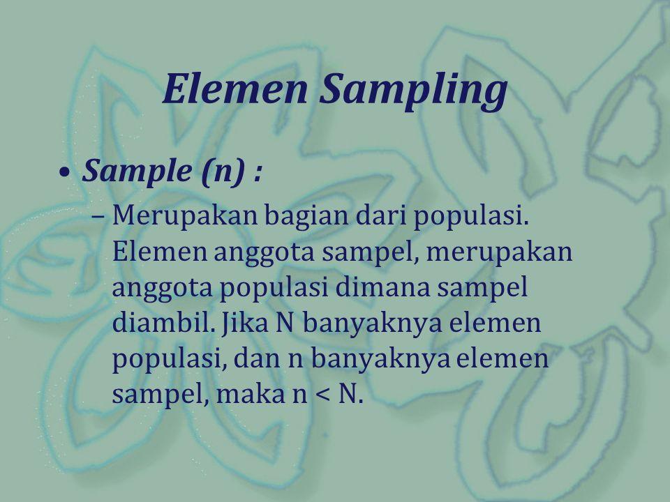 Elemen Sampling Sample (n) :