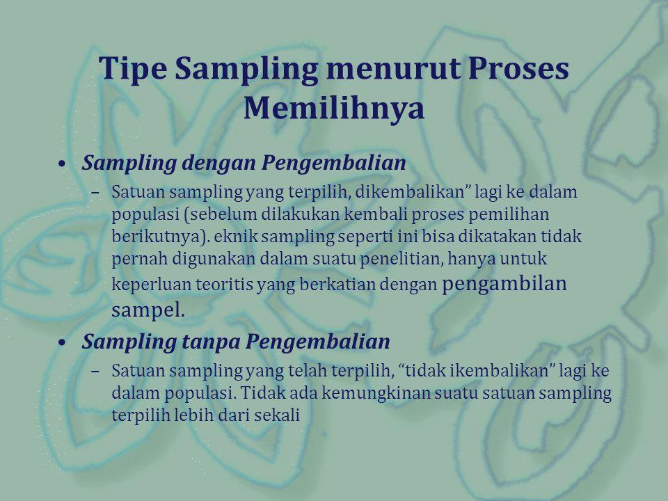 Tipe Sampling menurut Proses Memilihnya