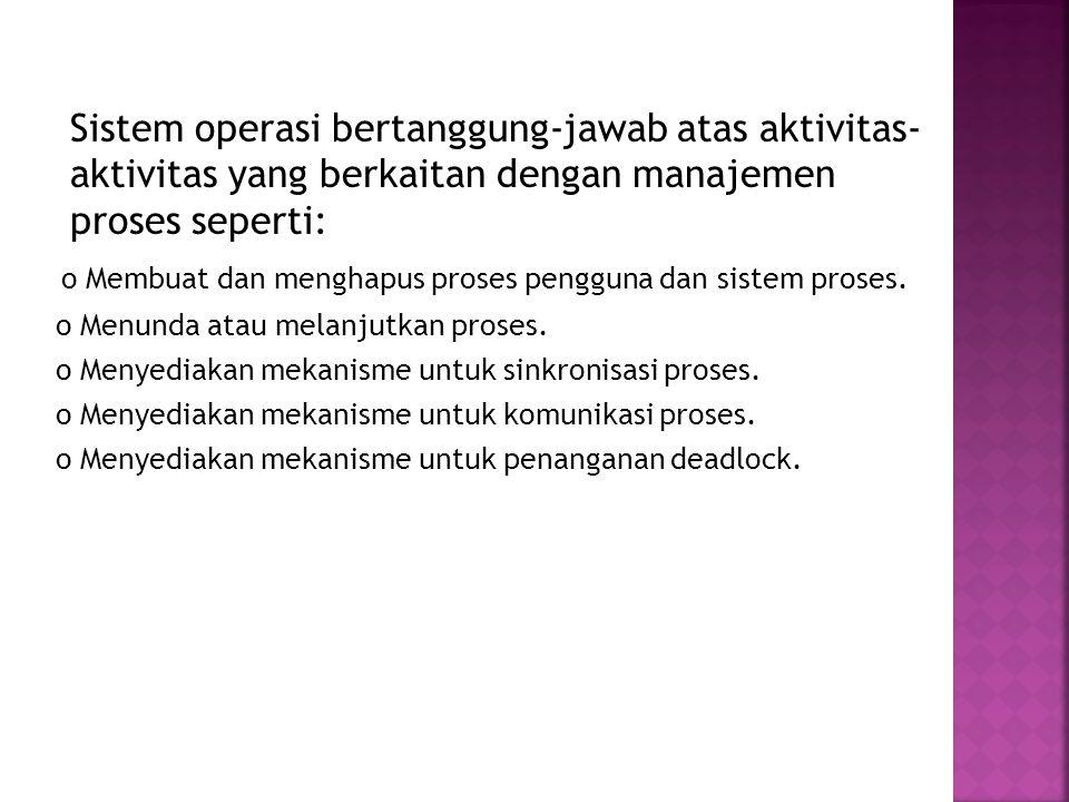 o Membuat dan menghapus proses pengguna dan sistem proses.