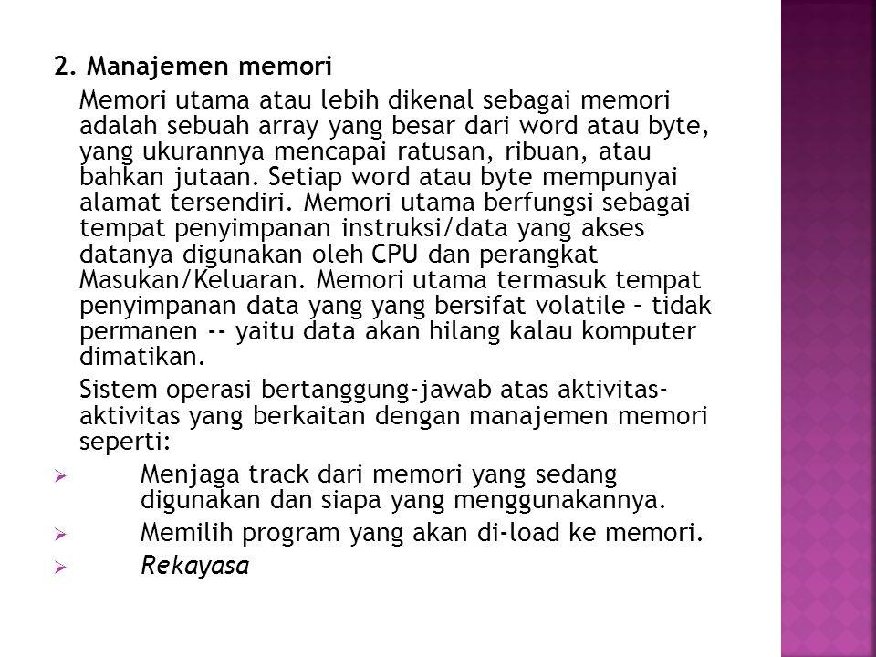 2. Manajemen memori