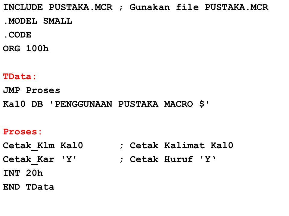INCLUDE PUSTAKA. MCR ; Gunakan file PUSTAKA. MCR. MODEL SMALL