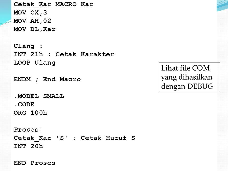 Lihat file COM yang dihasilkan dengan DEBUG