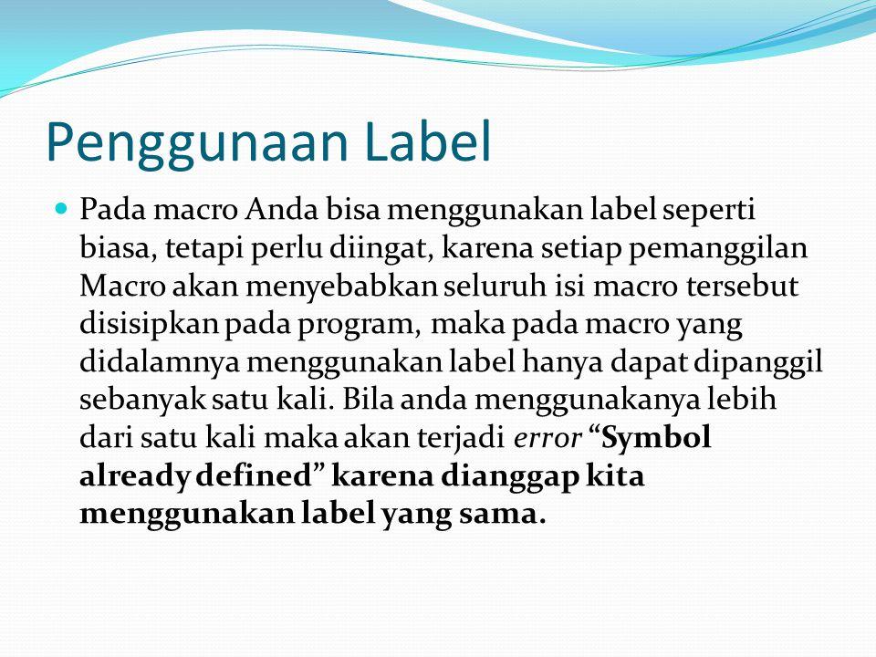 Penggunaan Label