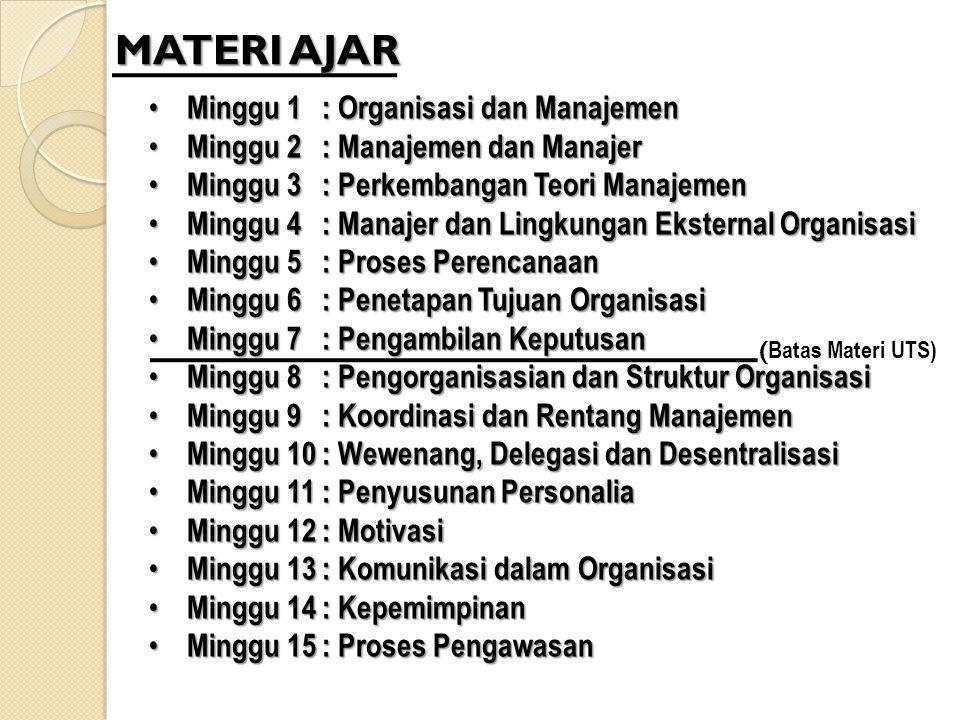 MATERI AJAR Minggu 1 : Organisasi dan Manajemen