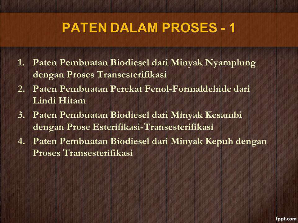 PATEN DALAM PROSES - 1 Paten Pembuatan Biodiesel dari Minyak Nyamplung dengan Proses Transesterifikasi.
