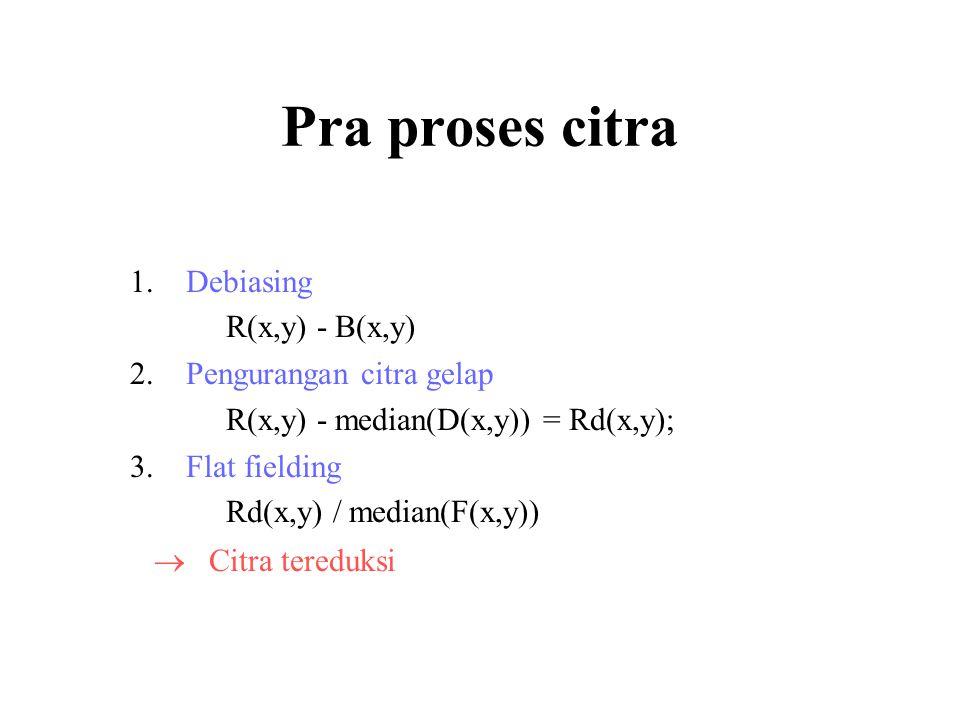 Pra proses citra Debiasing R(x,y) - B(x,y) Pengurangan citra gelap