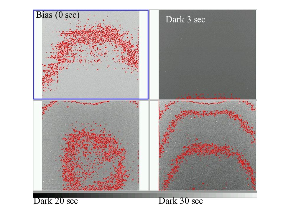 Bias (0 sec) Dark 3 sec Dark 20 sec Dark 30 sec