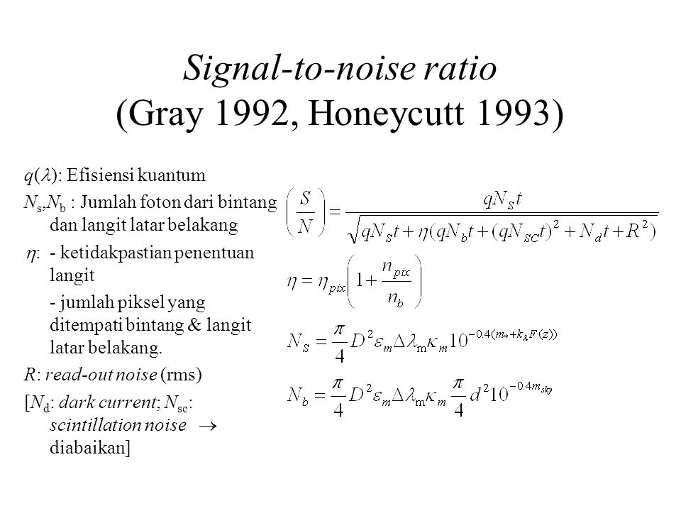 Signal-to-noise ratio (Gray 1992, Honeycutt 1993)