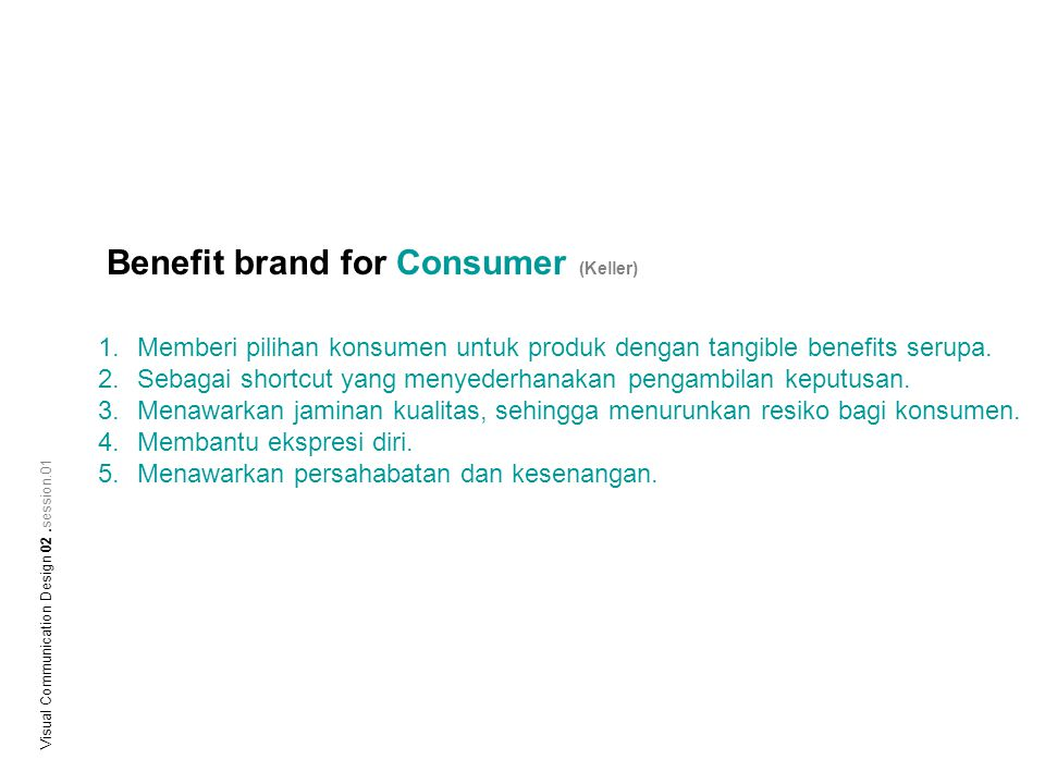 Benefit brand for Consumer (Keller)