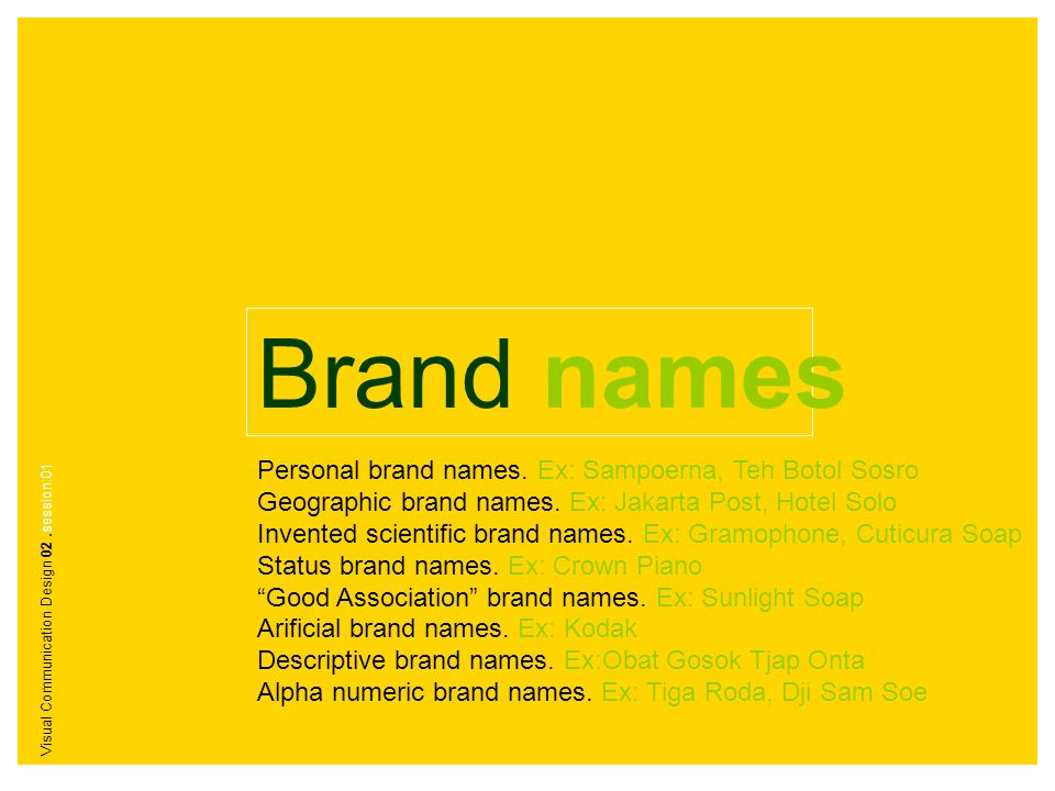 Brand names Personal brand names. Ex: Sampoerna, Teh Botol Sosro