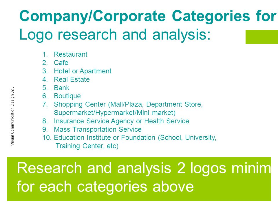 Company/Corporate Categories for Logo research and analysis: