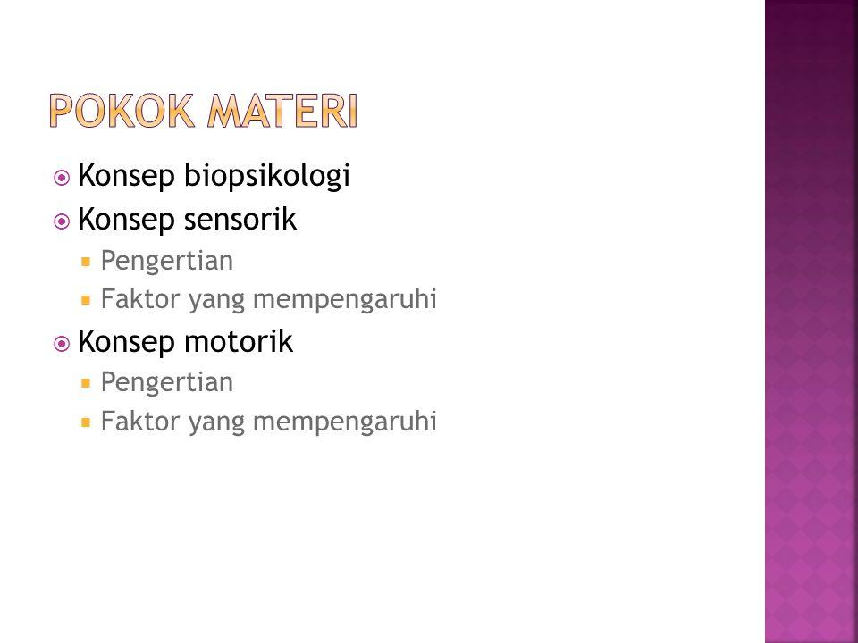 Pokok materi Konsep biopsikologi Konsep sensorik Konsep motorik