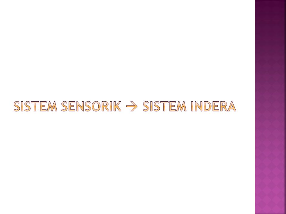 Sistem sensorik  sistem indera