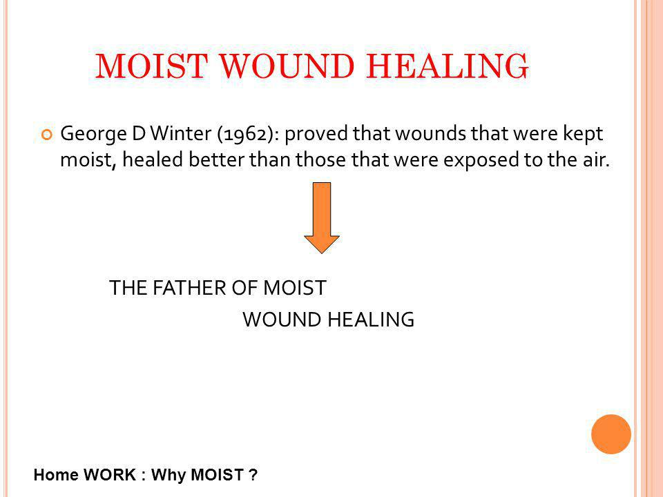 MOIST WOUND HEALING George D Winter (1962): proved that wounds that were kept moist, healed better than those that were exposed to the air.