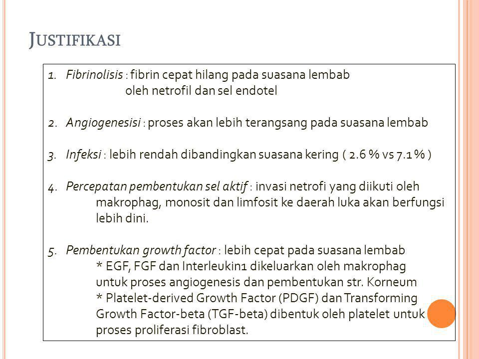 Justifikasi Fibrinolisis : fibrin cepat hilang pada suasana lembab