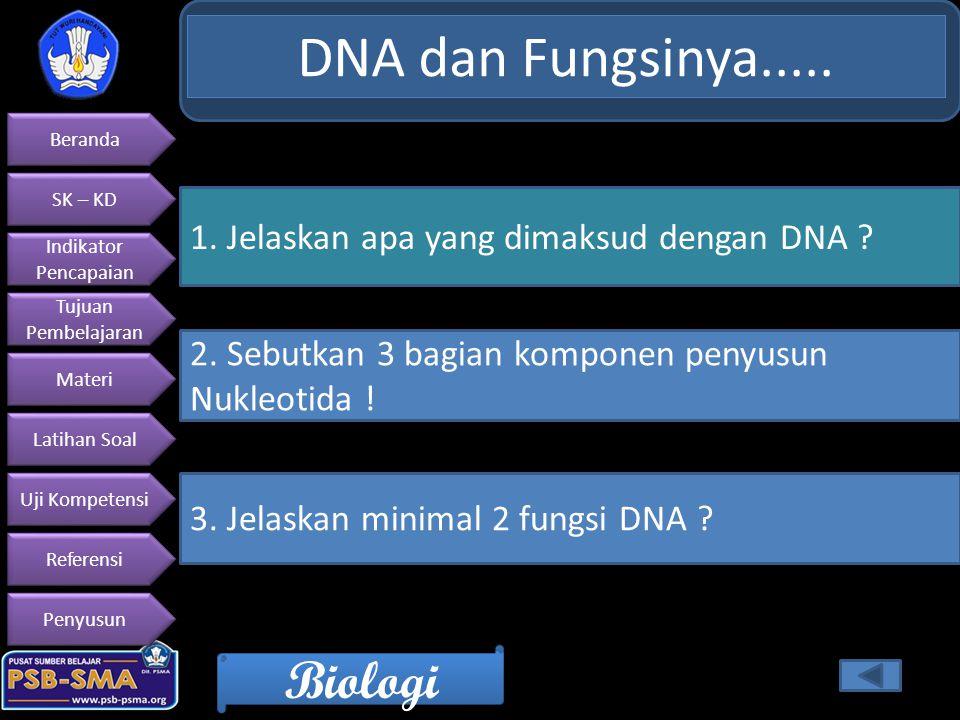DNA dan Fungsinya..... 1. Jelaskan apa yang dimaksud dengan DNA