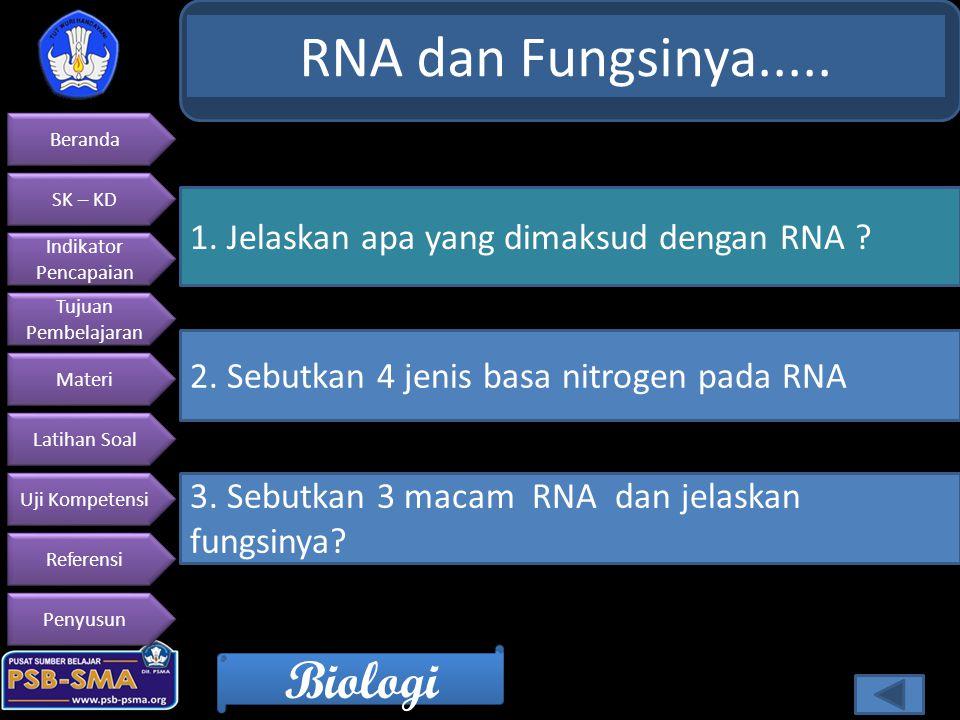 RNA dan Fungsinya..... 1. Jelaskan apa yang dimaksud dengan RNA