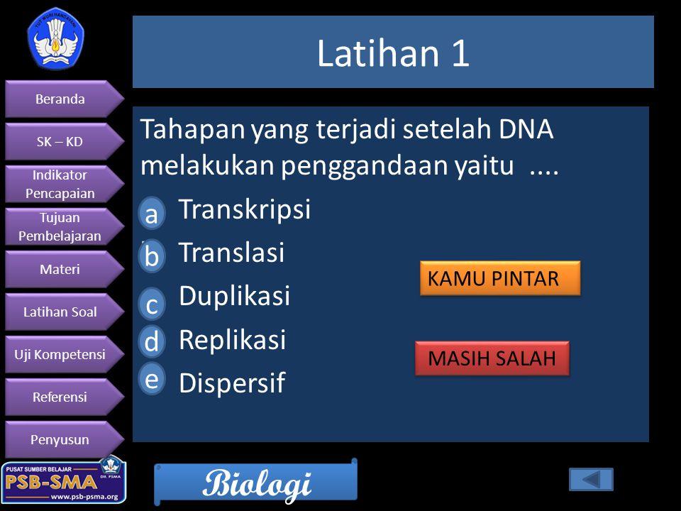 Latihan 1 Tahapan yang terjadi setelah DNA melakukan penggandaan yaitu .... Transkripsi. Translasi.